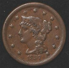 1857 Large Cent:  Nice VF-XF, perfect color, very underrated