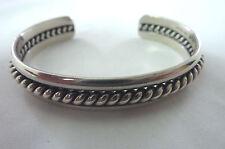 """Vintage Sterling Navajo Cuff Bracelet Rope 28.9g  6 1/8"""" signed HRM  I-3404"""