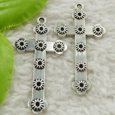 68 pieces tibet silver flower cross charms pendant 45x24mm #4650 free ship