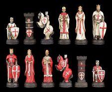 Schachfiguren Set - Kreuzritter Weiß und Rot - Ritter Mittelalter Schach Figuren