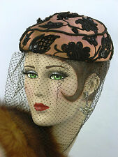 VINTAGE HAT 1930s FRENCH, ROSE DESCAT, SATIN, VEILED, PILLBOX w BEADED APPLIQUES