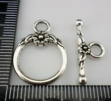10 sets Tibetan Silver Flower Toggle Clasps Connectors (Lead-free)