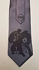 L@@K! KISS Faces Necktie - Gene Simmons, Paul Stanley Starchild Steel Gray
