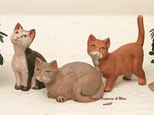 "FONTANINI DEPOSE ITALY 12"" SET OF 3 CATS NATIVITY VILLAGE ANIMAL FIGURES NEW"