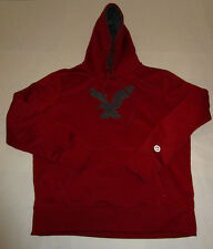 Vintage Mens American Eagle Red Stitched Fleece Hoodie Hooded Sweatshirt Large
