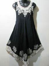 Dress Fits Plus XL 1X 2X Plus Sundress Black White Tunic Batik A Shape NWT G625