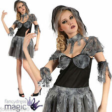 Señoras Adulto gót gótico Novia Negro Zombie Horror Halloween Fancy Dress Costume