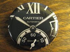 Cartier Black Multi Dial Automatic Watch Advertisement Pocket Lipstick Mirror