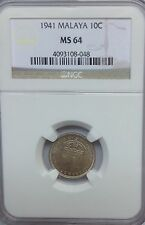 MALAYA 1941  NGC MS64 10  CENTS GRADED