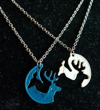 His Hers Buck Doe Head Interlocking Necklace 2 PC Set NEW! Browning Deer Couples