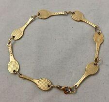 Tennis Racquet 14K Yellow Gold 7.25 inch Bracelet
