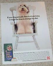 1993 print ad page - Senior dog food cute shaggy dog Vintage Ralston Purina AD