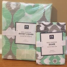 NEW Pottery Barn Teen Geo Garden TWIN Duvet + STANDARD Sham MINT GRAY