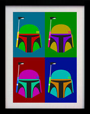 Boba Fett Casco Star Wars Pop Art stampa a3 POSTER WALL-EDIZIONE LIMITATA DI 100