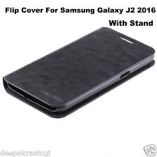 Premium Leather Flip Cover Case Folding Stand For Samsung Galaxy J2 2016