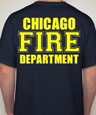 Chicago Fire Department T-shirt Duty Shirt Rescue Dept. Firefighter YELLOW Print