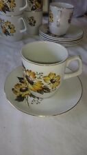Wood and Sons Alpine Meadow Tea Cup and Saucer Yellow Flowers on White Gold Rims