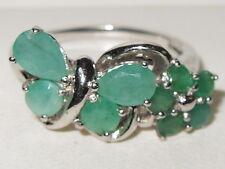 Lovely Gems Tv sterling silver emerald Gem butterfly & flower cluster ring