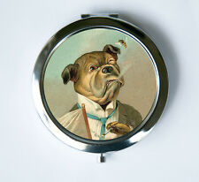 Bulldog smoking Compact MIRROR Pocket Mirror anthromorphic cute