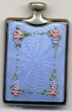 Antique Victorian Perfume Bottle Silver Niello Guilloche Enamel Pink Blue Flower