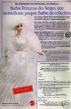Publicité advertising 1995 Poupée Barbie Princesse des Neiges Mattel