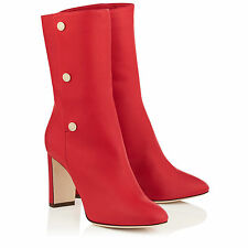 NEW Authentic Jimmy Choo Dayno 85 Red Soft Nappa Leather Mid Calf Boots RRP£895