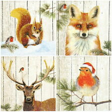 4x Single Table Party Paper Napkins for Decoupage Decopatch Animals & Robin