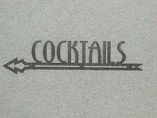 Art Deco Style Wood COCKTAILS LEFT ARROW BAR SIGN WALL DECOR