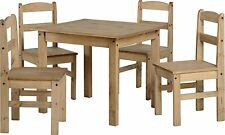 Corona style Mexican antique distressed pine dining set with 4 chairs