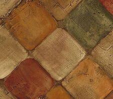 Wallpaper Faux Tumbled Tuscan Tiles Tan, Rust & Green Tile