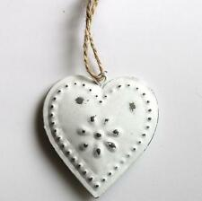 Distressed White Small Metal Hanging Heart Decoration Shabby Chic Gift Wedding