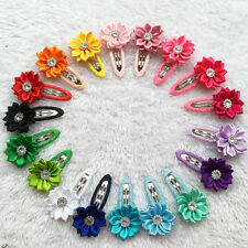 Boutique Hair Bow Clips Satin Flower Baby Girls Kids Hairpins Accessories 10pcs