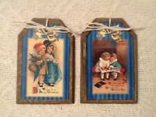 5 Handcrafted Wooden Christmas Ornaments//HangTags SWEET VINTAGE CHILDREN Set1C