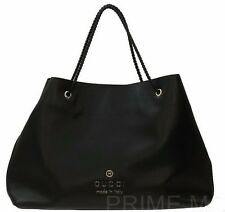 NEW GUCCI BLACK TEXTURED LEATHER LOGO SHOPPING SHOULDER TOTE BAG PURSE XLARGE