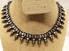 Vtg Sterling Silver Ornate Collar Necklace Beaded Link Choker Chain Cleopatra