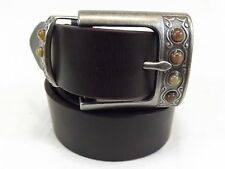 Steve Madden Women's Belt, Size M, Brown Leather, Missing 1 stone on buckle