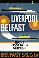 Liverpool Belfast Night passenger Service Ferry Ship  Travel Poster Print