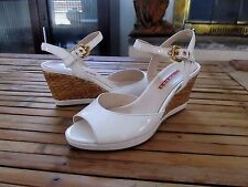 Prada White Patent Leather Ankle Strap Wicker Wedge Sandals Size 7 /37