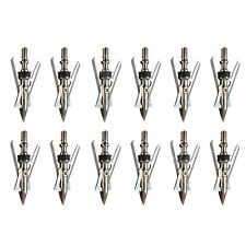 12Pcs New Silvery Archery Hypodermic Official Broadheads 2 Blade Rage Arrowtip