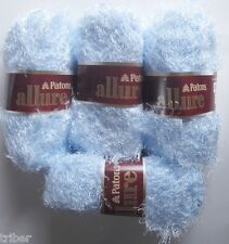 4 Skeins Patons ALLURE Eyelash Fur yarn Aquamarine Blue Discontinued