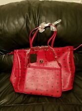 MCM handbag tote LARGE ruby red Reversible Liz Shopper authentic with all tags