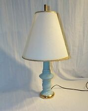 Mid Century Modern Turquoise Blue & Gold Retro Ceramic Table Lamp Light. med siz