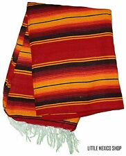 RED SERAPE Mexican Blanket SOUTHWESTERN 5' x 7' Falsa Serape Yoga Throw Baja