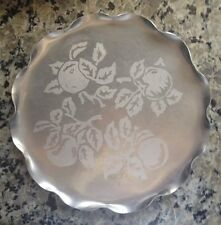 """Vintage Aluminum 12"""" Round Serving Tray/Etched Fruit Design/Pretty Scalloped Edg"""