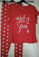 Pretty secrets 'let it snow' christmas pyjamas plus size 28/30