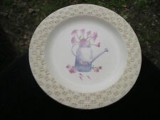 Sonoma In the Garden (Watering Can) Gold Basket Weave Rim Beige Dinner Plate