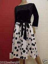 NWT DRESS V ROCKABILLY VINTAGE INSPIRED BLACK VELVET POLKA DOT DRESS L