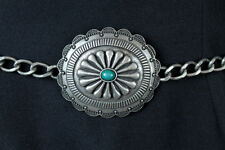 """Retro Concho Chain Belt 32-39"""" Silver Tone Metal Faux Turquoise Wide Indian"""