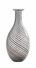 "New 14"" Hand Blown Art Glass Teardrop Vase Black White Clear Swirl Decorative"