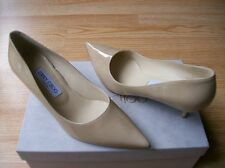 $595 Jimmy Choo Aza Shoes Nude Patent Pointy Toe Pumps 37 US 6.5 7 NIB